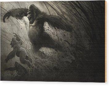 The Ambush Wood Print by Aaron Blaise