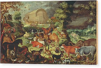 The Animals Entering The Ark Wood Print by Jacob II Savery