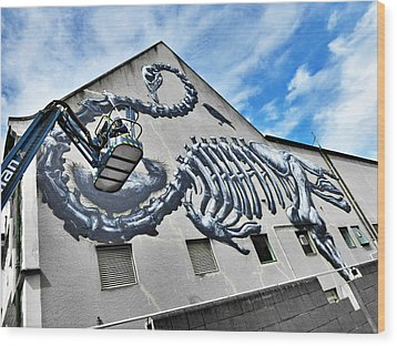 The Artist Roa At Work  Wood Print by Steve Taylor