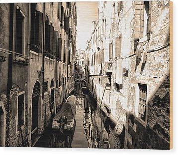 The Back Canals Of Venice Wood Print by Bill Cannon