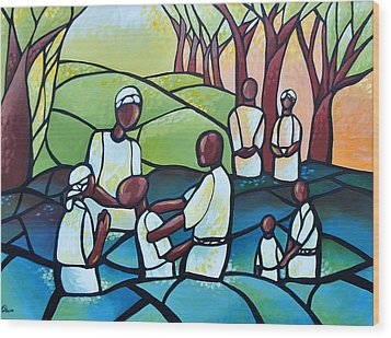 The Baptism Wood Print by AC Williams