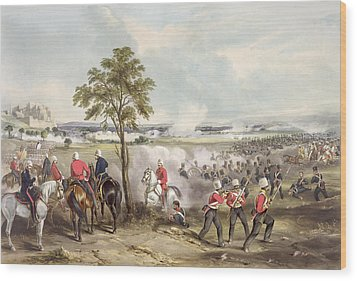 The Battle Of Goojerat On 21st February Wood Print by Henry Martens