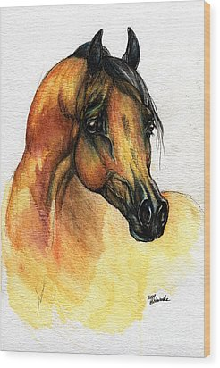 The Bay Arabian Horse 14 Wood Print by Angel  Tarantella