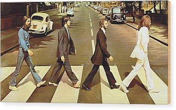 The Beatles Abbey Road Artwork Wood Print by Sheraz A