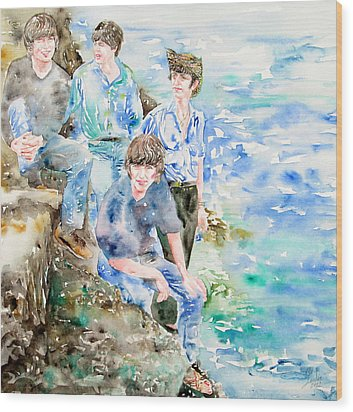 The Beatles At The Sea Watercolor Portrait Wood Print by Fabrizio Cassetta