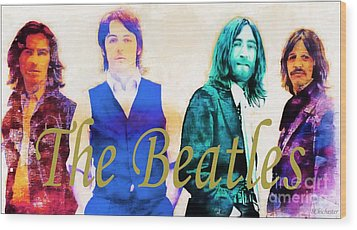 The Beatles Wood Print by Barbara Chichester
