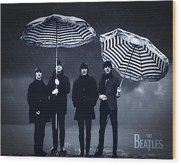 The Beatles In The Rain Wood Print by Aged Pixel