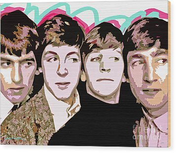 The Beatles Love Wood Print by David Lloyd Glover
