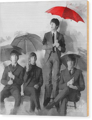 The Beatles - Paul's Red Umbrella Wood Print by Paulette B Wright