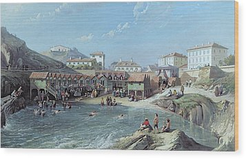 The Beginning Of Sea Swimming In The Old Port Of Biarritz  Wood Print by Jean Jacques Alban de Lesgallery
