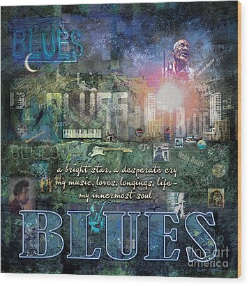 The Blues Wood Print by Evie Cook