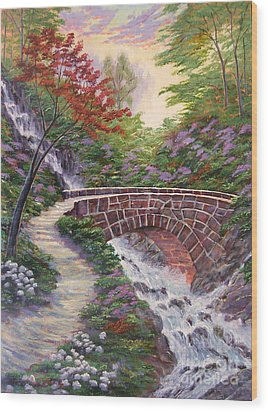 The Bridge Across Wood Print by David Lloyd Glover