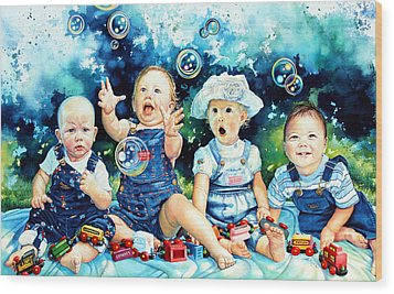 The Bubble Gang Wood Print by Hanne Lore Koehler