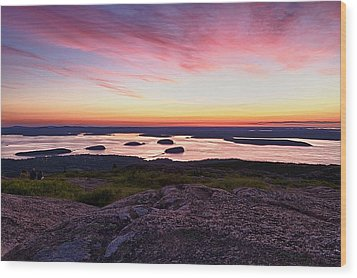 The Cadillac Mountain Sunrise Club Wood Print by Jeff Sinon