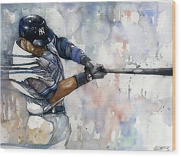 The Captain Derek Jeter Wood Print by Michael  Pattison