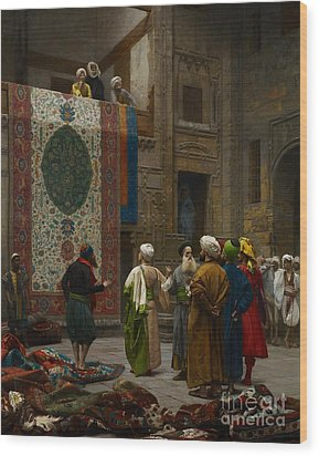 The Carpet Merchant Wood Print by Jean Leon Gerome
