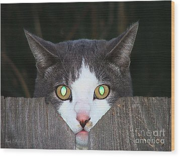 The Cat's Meow Wood Print by Wendy McKennon