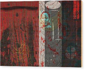 The Chinese Window Wood Print by Maria Jesus Hernandez
