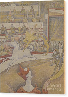 The Circus Wood Print by Georges Pierre Seurat