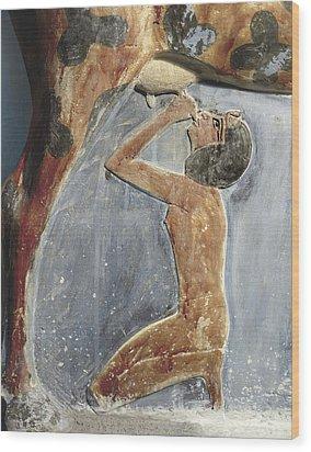 The Cow Goddess Hathor Breast Feeding Wood Print by Everett