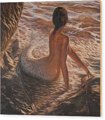 The Daughter Of The Sea Wood Print by Marco Busoni