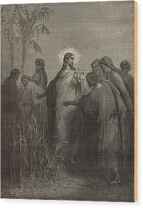 The Disciples Plucking Corn On The Sabbath Wood Print by Antique Engravings