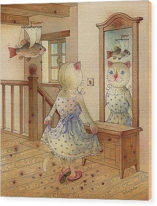 The Dream Cat 11 Wood Print by Kestutis Kasparavicius