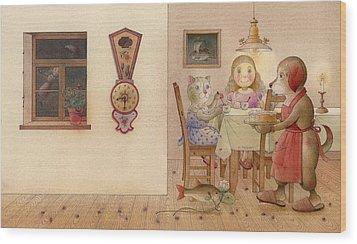 The Dream Cat 20 Wood Print by Kestutis Kasparavicius