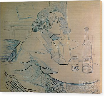The Drinker Or An Hangover Wood Print by Henri de Toulouse-lautrec