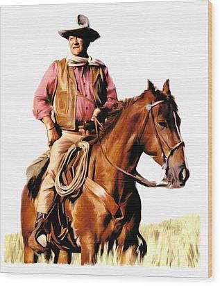 The Duke  John Wayne Wood Print by Iconic Images Art Gallery David Pucciarelli