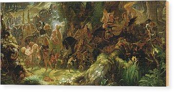 The Fairy Raid Wood Print by Sir Joseph Noel Paton