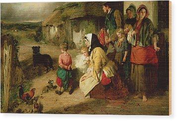 The First Break In The Family Wood Print by Thomas Faed