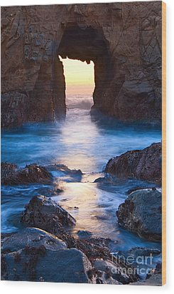 The Gateway - Sunset On Arch Rock In Pfeiffer Beach Big Sur In California. Wood Print by Jamie Pham