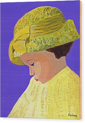 Wood Print featuring the painting The Girl With The Straw Hat by Rodney Campbell