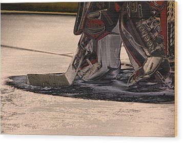 The Goalies Crease Wood Print by Karol Livote