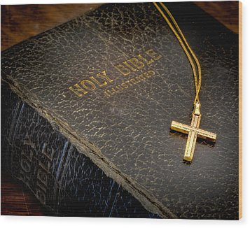 The Holy Bible Wood Print by David and Carol Kelly