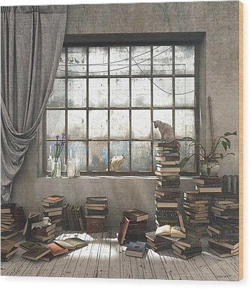 The Introvert Wood Print by Cynthia Decker