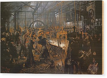 The Iron-rolling Mill Oil On Canvas, 1875 Wood Print by Adolph Friedrich Erdmann von Menzel