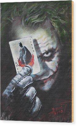 The Joker Heath Ledger  Wood Print by Viola El