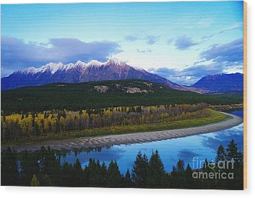 The Kootenenai River Surrounding The Canadian Rockies   Wood Print by Jeff Swan