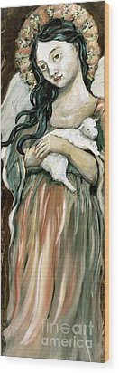 The Lamb Wood Print by Carrie Joy Byrnes
