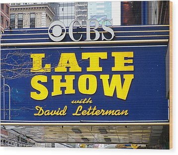 The Late Show With David Letterman Wood Print by Kenneth Summers