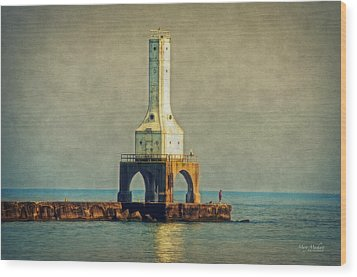The Lighthouse And The Fisherman Wood Print by Mary Machare
