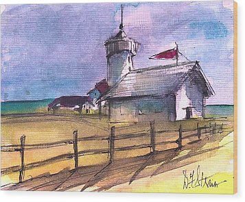 The Lighthouse Wood Print by Diane Strain