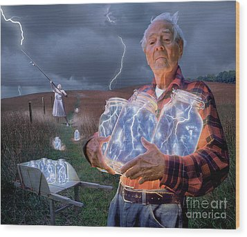 The Lightning Catchers Wood Print by Bryan Allen