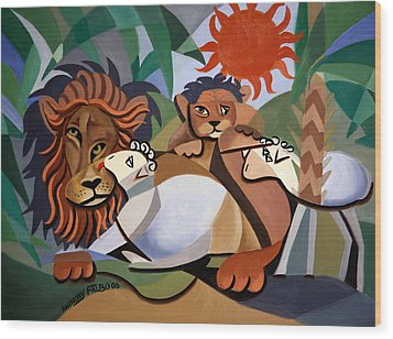 The Lion And The Lamb Wood Print by Anthony Falbo