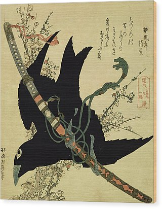 The Little Raven With The Minamoto Clan Sword Wood Print by Katsushika Hokusai