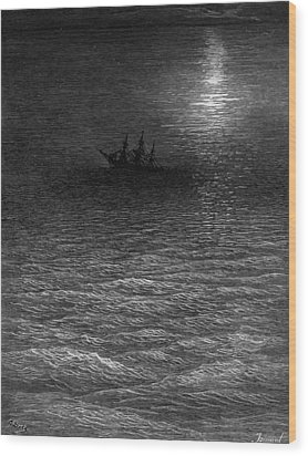 The Marooned Ship In A Moonlit Sea Wood Print by Gustave Dore