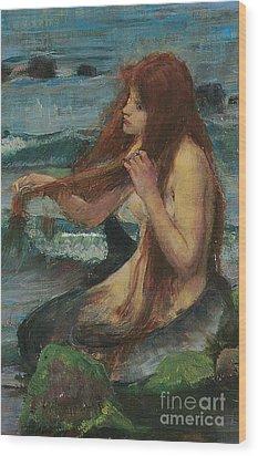 The Mermaid Wood Print by John William Waterhouse
