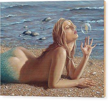 The Mermaids Friend Wood Print by John Silver